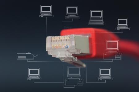 cable red: Red de conexion en fondo negro Foto de archivo