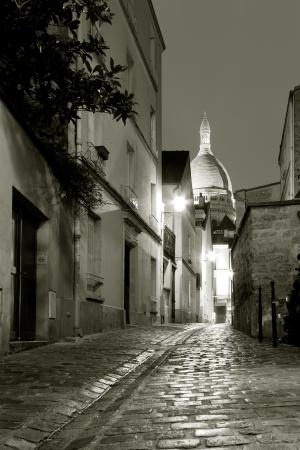 montmartre: Street of Montmartre, Paris, Ile de France, France Stock Photo