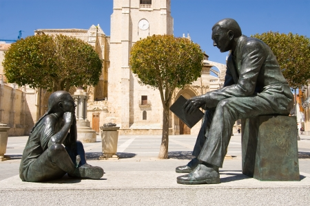 castilla: Monument to the teacher, Palencia, Castilla y Leon, Spain Stock Photo