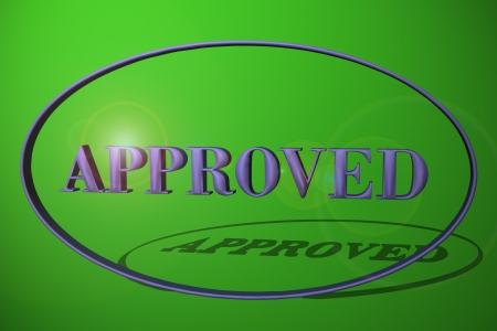 Word approved in green background photo