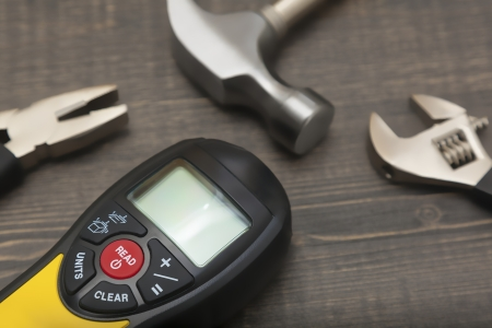 wooden metre: Construction tools on the wood Stock Photo