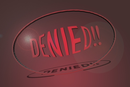 restitution: Word denied in 3D Stock Photo
