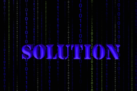 Solution word isolated in black  photo