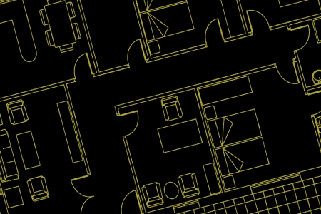 contextual: Plan de la casa en negro Foto de archivo