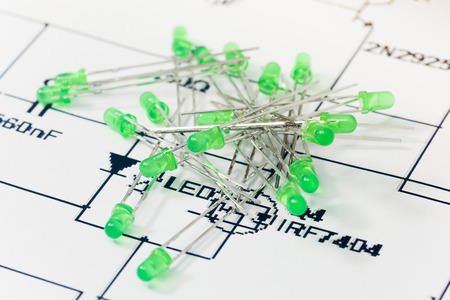 leds: Green LEDs and electronic scheme Stock Photo