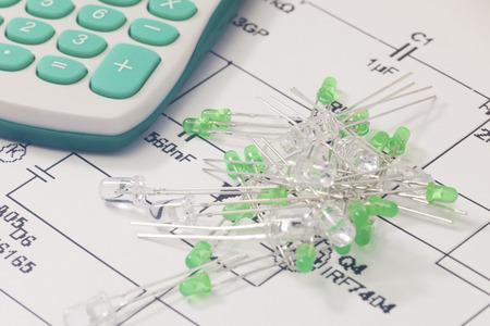 leds: LEDs verdes y calculadora electr�nica