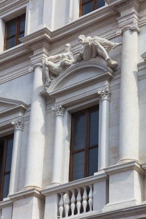 marmol: Architecture of Bergamo, Lombardy, Italy Stock Photo