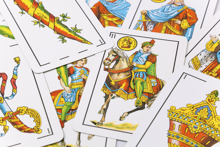 Spanish cards in white background