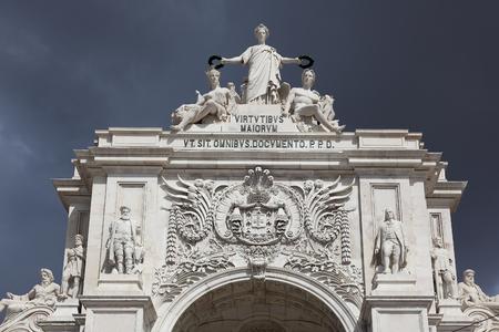 baixa: Triumphal Arch on Praca do comercio, commerce square, Baixa district, Lisbon, Portugal Stock Photo