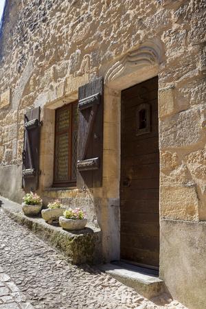 aquitaine: Street of Beynac-et-Cazenac, Dordogne, Aquitaine, France Editorial