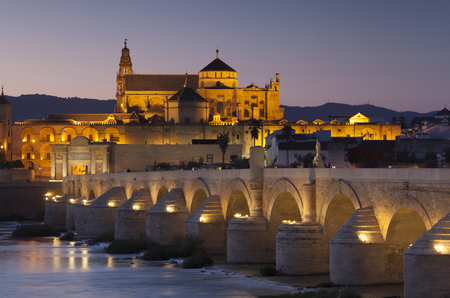 cordoba: Roman bridge and mosque-cathedral, Cordoba, Andalucia, Spain Stock Photo
