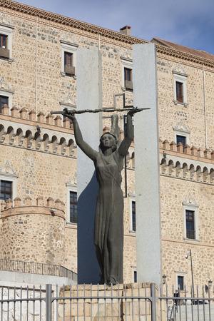 mancha: Statue in the Alcazar of Toledo, Castilla la Mancha, Spain