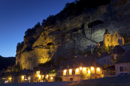 nightfall: Nightfall in La Roque-Gageac, Dordogne, Aquitaine, France