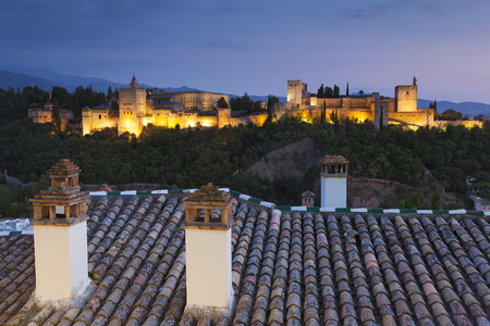 nightfall: Nightfall in La Alhambra, Granada, Andalucia, Spain Editorial