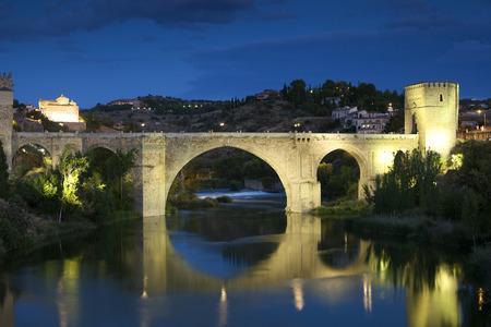 mancha: St Martin bridge, Toledo, Castilla la Mancha, Spain Stock Photo