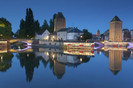 france: Covered bridge, in the petite france, Strasbourg, Bas-Rhin, Alsace, France.