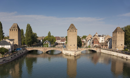 france: Covered bridge, in the petite france, Strasbourg, Bas-Rhin, Alsace, France.