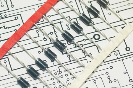diodes: Diodes over electronic diagram Stock Photo