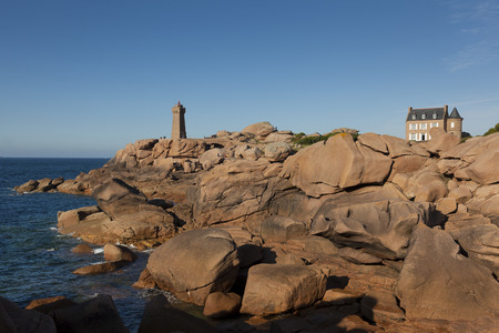 cote de granit rose: Lighthouse at Cote de Granit Rose, Ploumanach, Brittany, France