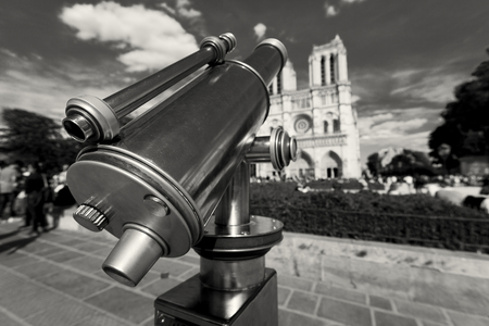 Telescope in NotreDame cathedral, Paris, Ile-de-France, France