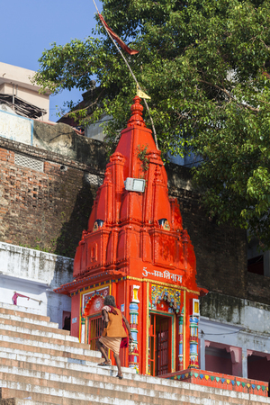 Ghat steps and temple on river Ganges, Varanasi, Uttar Pradesh, India Editorial