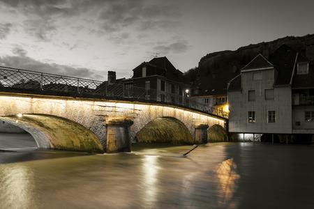Bridge of Ornans, Doubs,  Bourgogne-Franche-Comte, France Stock Photo - 99521763