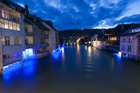 NIghtfall in Ornans, Doubs,  Bourgogne-Franche-Comte, France