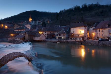 NIghtfall in Lods, Doubs,  Bourgogne-Franche-Comte, France Stock Photo