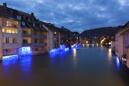 NIghtfall in Ornans, Doubs,  Bourgogne-Franche-Comte, France