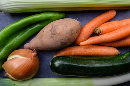 Colorful still life of healthy vegetables seen from above.Concept of food and healthy living