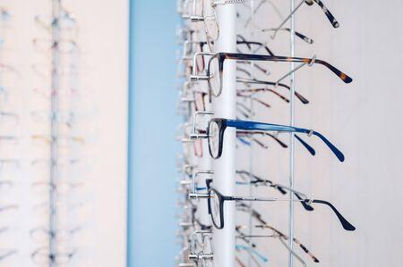Eyeglasses placed in eyewear store.copy space.Focus selective.