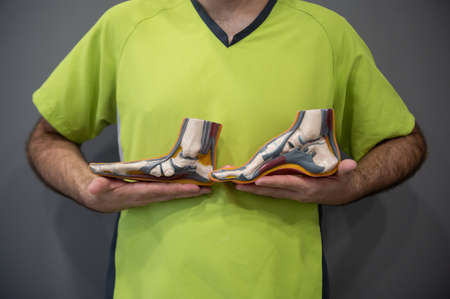 Podiatry doctor holding in his hands a medical anatomical foot model Isolated on a gray background