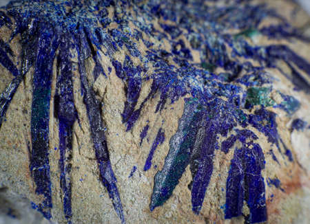Close up on an Azurite mineral stone