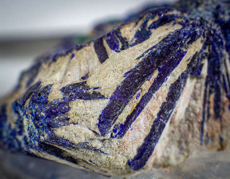 Close up on an Azurite mineral on a rock