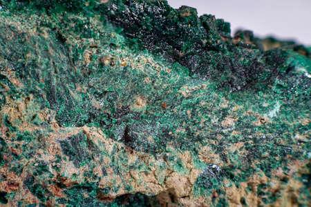 Close up on a Malachite mineral stone
