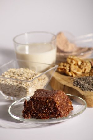 Homemade dessert made from dates, nuts and protein powder which makes it ideal for athletes