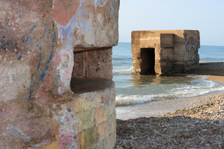 Bunker in the houses of reaching with those who defended the coasts during the Spanish Civil War 版權商用圖片