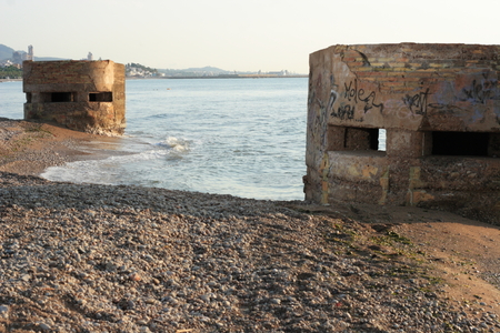 Bunker in the houses of reaching with those who defended the coasts during the Spanish Civil War Banque d'images