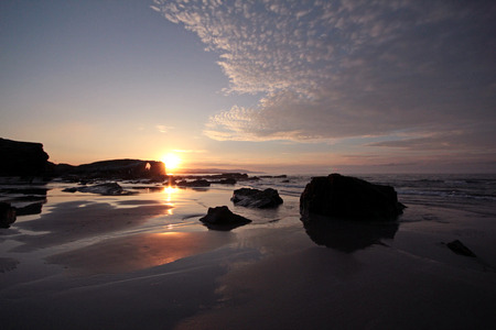 galicia: Sunset on the beach of the cathedrals, Galicia
