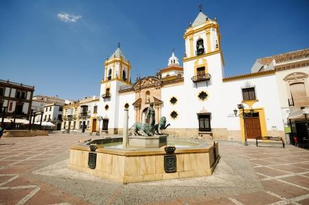 Ronda, Malaga, Andalusia, Spain Plaza Del Socorro Church Imagens