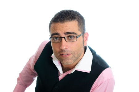 A successful businessman with glasses wearing vest and pink shirt photo