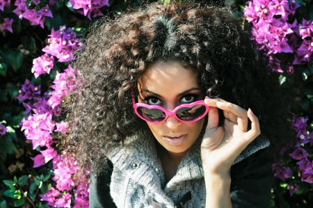 Funny black girl with purple heart glasses Stock Photo - 16653667