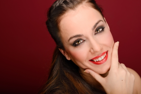 Portrait of attractive girl with red lips  Make up  Perfect skin  photo
