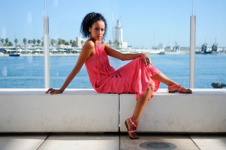 Portrait of a young black woman, afro hairstyle, wearing long pink dress, in the harbour Stock Photo - 16826074