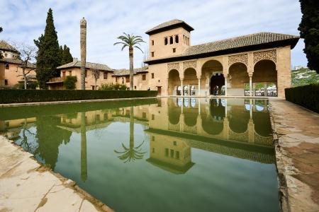 granada: The Partal gardens of Alhambra in Granada, Andalusia, Spain