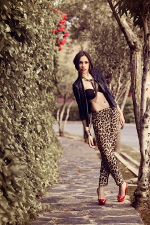 Portrait of young beautiful woman, model of fashion, wearing leopard pants, jacket and red high heels photo