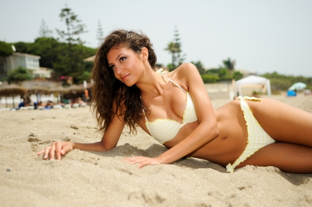 hot girl: Portrait of a woman with beautiful body on a tropical beach  Stock Photo