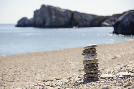 fulcrum: Pebbles in balancing on the sea coast