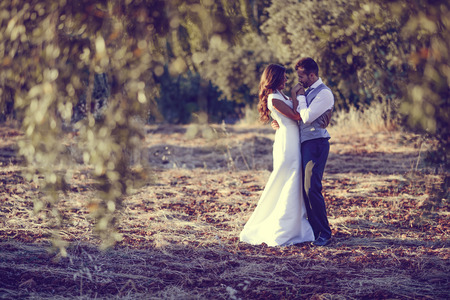 Just married couple together in nature background 版權商用圖片 - 29602188