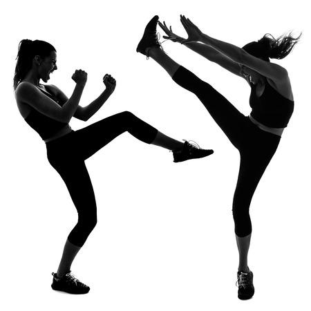 girl kick: Portrait of woman doing martial arts kicking the air